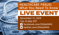 Advertisement for a live event on healthcare fraud on December 11, 2019